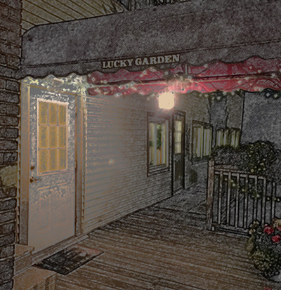Entrance to Lucky Garden Chinese Restaurant